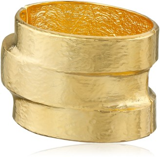 Kenneth Jay Lane Hammered Polished Gold-Plated Three-Tiered Hinged Cuff Bracelet 3""