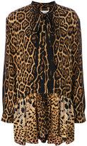 Saint Laurent leopard print neck tie dress - women - Silk - 36