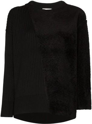 Hyke Commando shearling-panel sweater