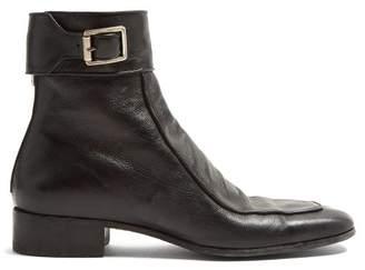 Saint Laurent Miles Buckled Leather Boots - Mens - Black