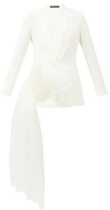 Germanier - Crystal-embellished Tulle & Upcycled-twill Blazer - White