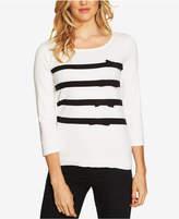 CeCe Cotton Striped Bow-Trim Sweater
