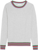 Chinti and Parker Stripe Cuff Cashmere Sweater - Gray