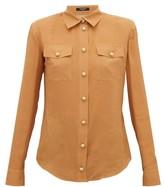 Balmain Padded-shoulder Silk Crepe De Chine Shirt - Womens - Beige