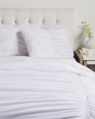 Boho Bed Voile Ruched Duvet Set White