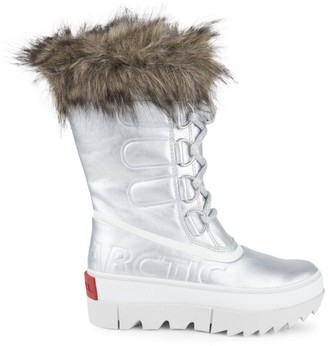 Sorel Joan of Arctic Next Faux Fur-Trimmed Metallic Leather Boots