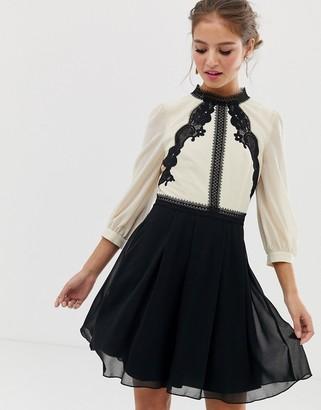 Little Mistress contrast lace detail skater dress in multi
