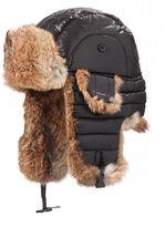 Crown Cap Rabbit Fur-Trimmed Aviator Hat