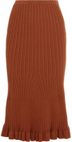 Victoria Beckham Fluted Ribbed-knit Stretch-cotton Midi Skirt - Brown
