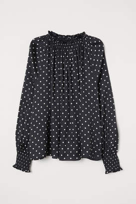 H&M Ruffle-collar Wide-cut Blouse - Black