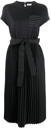 Brunello Cucinelli pleated skirt tie-waist T-shirt dress