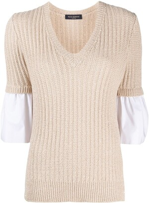 Piazza Sempione V-Neck Panelled Knitted Jumper