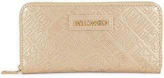 Love Moschino Portafogli Metallic Faux Leather Zip-Around Wallet