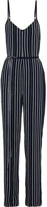 Rag & Bone Rosa Belted Striped Crepe Jumpsuit