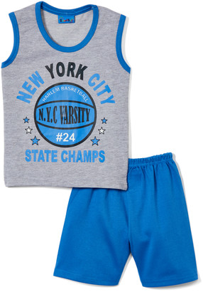 Sweet & Soft Boys' Casual Shorts Grey - Gray & Bright Blue 'State Champs' Basketball Tank & Shorts - Infant