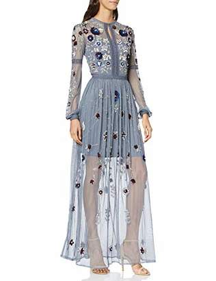 Frock and Frill Women's Harlow Long Sleeve Embellished Maxi Dress Party (Aloy Grey #647283), (Size:)