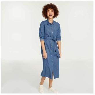 Joe Fresh Women's Denim-Look Shirtdress, Medium Wash (Size XS)