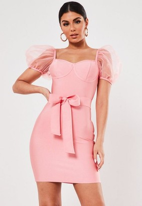 Missguided Premium Blush Organza Puff Sleeve Bandage Mini Dress