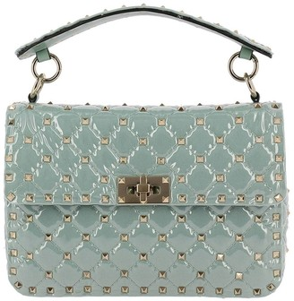 Valentino Rockstud Spike Bag In Pvc With Micro Studs And Shoulder Strap