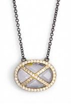 Freida Rothman Women's 'Double Helix' Pave Cubic Zirconia Pendant Necklace