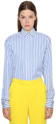 Ralph Lauren Collection Striped Cotton Poplin Boyfriend Shirt