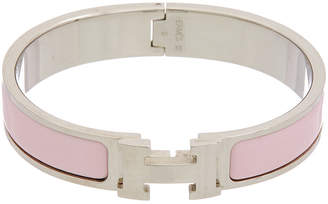 Hermes Palladium-Plated & Pink Enamel Narrow Clic-Clac H Bracelet