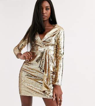 TFNC Tall Tall sequin tux mini dress in liquid gold-Red