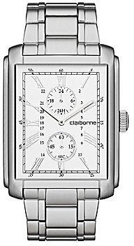 Claiborne Mens Rectangular Dial & Silver-Tone Bracelet Multifunction Watch