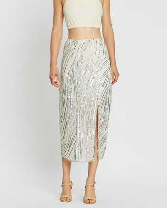 Miss Selfridge Sequin Midi Skirt