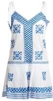 Juliet Dunn Shoulder-tie embroidered cotton-voile kaftan
