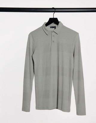 ASOS DESIGN muscle fit long sleeve polo in fancy rib in gray