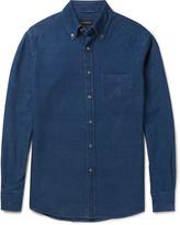 Ermenegildo Zegna - Slim-fit Garment-dyed Button-down Collar Denim Shirt