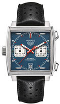 Tag Heuer Monaco Brushed Steel and Calfskin Leather Strap Watch