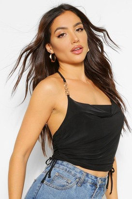 boohoo Cowl Neck Ruched Side Cami