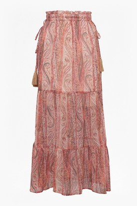 French Connection Malika Sheer Paisley Maxi Skirt