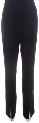 Escada Black Stretch Wool Crepe High Waist Slit Detail Trousers L