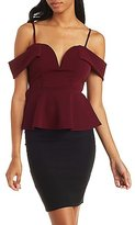 Charlotte Russe Off-the-Shoulder Peplum Top