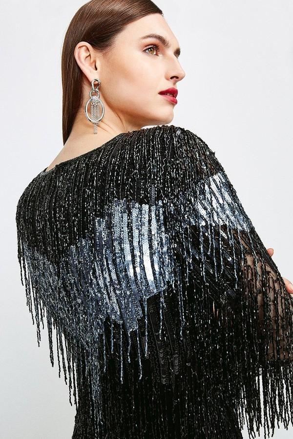 Thumbnail for your product : Karen Millen Sequin And Beaded Tassel Dress