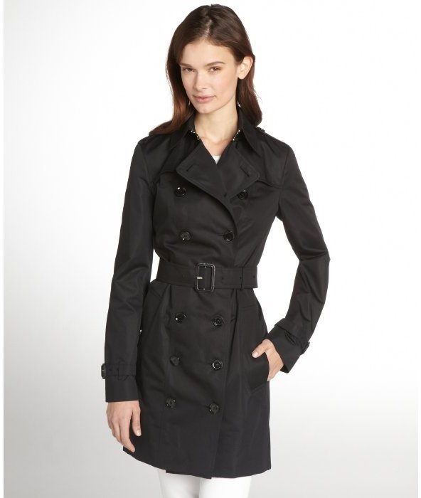 Burberry black cotton double breasted belted trench