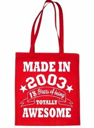 Print4u Shopping Tote Bag For Life Born In 2003 18th Birthday Black