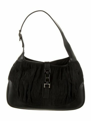 Gucci Leather-Trimmed Jackie Nylon Hobo Black