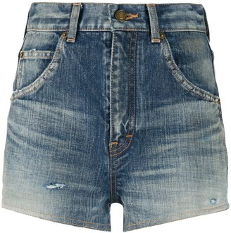 Saint Laurent Destroyed Denim Shorts