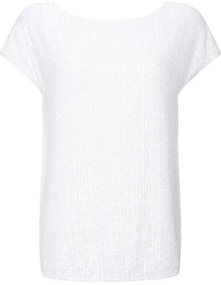 Mint Velvet White Sequin Front Top