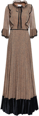 Mikael Aghal Velvet-paneled Pleated Leopard-print Georgette Gown