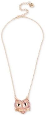 Betsey Johnson Rose Gold-Tone Pink Pave Cat Pendant Necklace