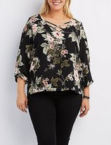 Charlotte Russe Plus Size Floral Strappy Blouse