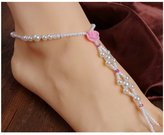 Ei Jewelry Foot Anklet Toe Chain Toe Anklet Chain Bohemian Rose Beads Stretch Chain