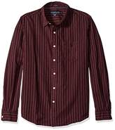 U.S. Polo Assn. Men's Long Sleeve Slim Fit Point Collar Striped Casual Shirt