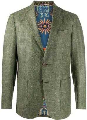 Etro Single Breasted Tweed Blazer
