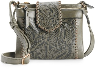 Violet Ray Floral Double Entry Crossbody Bag